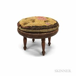 Country Red-painted Turned Pine Stool with Hooked Cushion.     Estimate $20-200