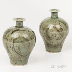 Two Brother Thomas Bezanson (1929-2007) Celadon Vases