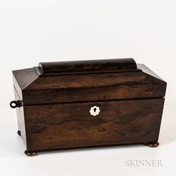 Rosewood Sarcophagus-form Tea Caddy