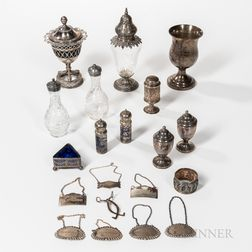 Twelve Pieces of Silver and Silver-plated Tableware and Tags