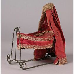 Twisted Wire-Frame Boat Cradle Draped in Plum Silk Dressings