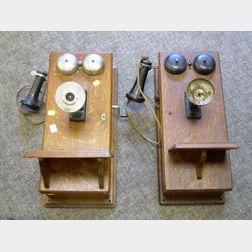 Two Oak Wall Mounted Magneto Telephones