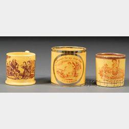 Three Yellow-glazed Children's Mugs