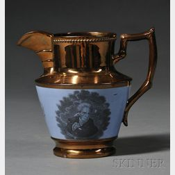 """Copper Lustre Liverpool Pottery Pitcher with """"General Jackson"""" Transfer Decoration"""
