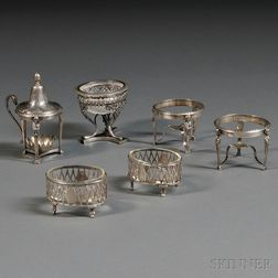 Six Continental Silver Condiment Items