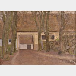 Danish School, 20th Century      View of the Stables, Autumn