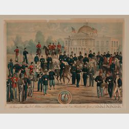 Framed Farrell Centennial Lithograph In Honor of the Mass. Vol. Militia and its Commanders