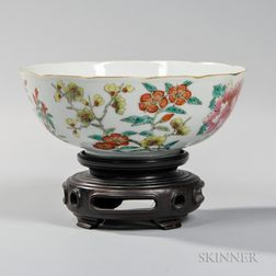 Rose Medallion Enameled Porcelain Bowl