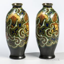 Pair of Gouda Pottery Zenith Orient   Vases
