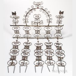 Scroll-decorated Wrought Iron Hanging Trellis