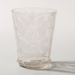 Large Etched Flint Glass Tumbler