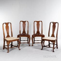 Assembled Set of Four Queen Anne Balloon-seat Chairs