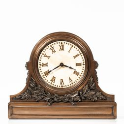 Bronze Clock Case with Marble Dial