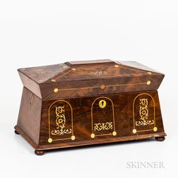 William IV Mother-of-pearl-inlaid Mahogany Tea Caddy