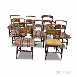Set of Eight Painted and Stenciled Hitchcock Chairs.     Estimate $300-500