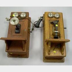 Two Oak Wall-Mounted Magneto Telephones