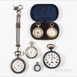 Four Open-face Watches and a Compendium Set