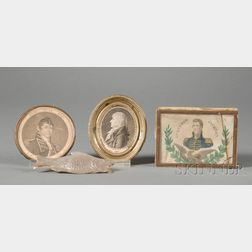 Two Small Framed Portraits, Trinket Box, and Fish Ornament