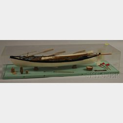 Cased Painted Wood Whaleboat Model