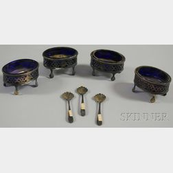 Set of Four Reticulated English Silver Cobalt Glass-lined Master Salts