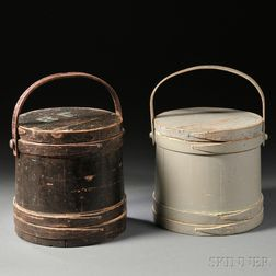 Two Painted Wooden Covered Firkins