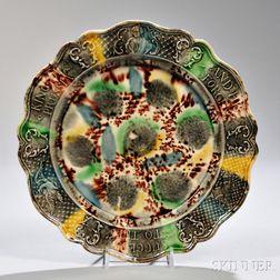 Staffordshire Tortoiseshell Glazed Creamware King of Prussia Plate