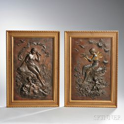 After Euguene Bormel, (Germany, 1858-1932)       Two Bronze Plaques