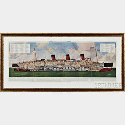 Gilt-framed Illustration of the R.M.S. Queen Mary