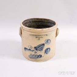 Lewis Bostwick & Co. Floral Cobalt-decorated Two-gallon Crock