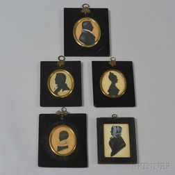 Five Framed Mostly Painted Silhouettes