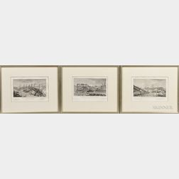 Eustache Saint-Far (French, 1746/47-1822)    Three Framed Engravings: Vue des Travaux du Pont de Neuilly, I, II, and III