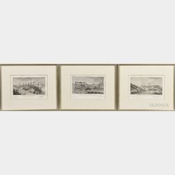 Four Framed European Architectural Engravings: Three Views by Eustache Saint-Far (French, 1746/47-1822), Vue des Travaux du Pont de Neu