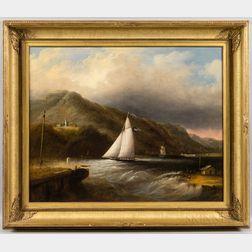 Edmund C. Coates (New York/New England, 1816-1871)      Lighthouse Near Caldwell's Landing