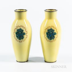 Pair of Small Yellow Moriage Cloisonné Vases