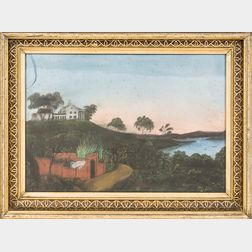 Framed Pastel View of Mount Vernon Overlooking the Potomac River