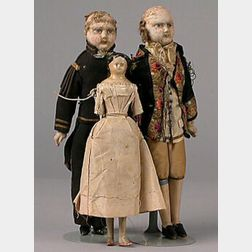 Three Early to Mid-19th Century Dolls