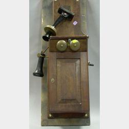 Walnut Wall Mounted Magneto Telephone