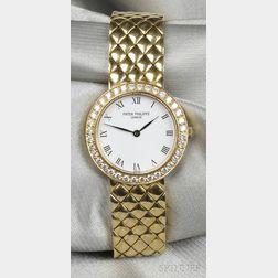 "Lady's 18kt Gold and Diamond ""Calatrava"" Wristwatch, Patek Philippe"
