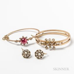 Two 14kt Gold and Rose-cut Diamond Hinged Bangles and a Pair of Rose-cut Diamond Earpendants