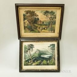 Two Framed Currier & Ives Hand-colored Lithographs
