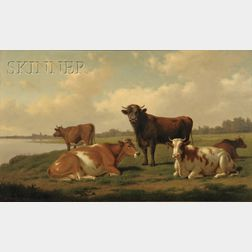 Thomas Hewes Hinckley  (American, 1813-1896)      Pastoral View with Cows