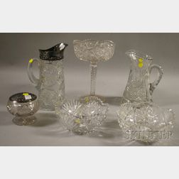 Five Pieces of Colorless Cut Glass and a Silver-plate Mounted Pressed Glass Pitcher