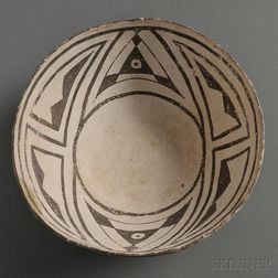 Anasazi Black-on-white Pottery Bowl