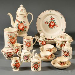 Assembled Collection of Staffordshire Cream-colored Earthenware Tea Ware