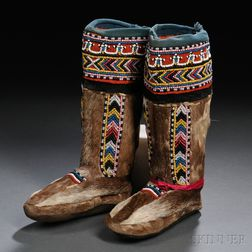 Pair of Eskimo Child's Beaded Trade Cloth and Sealskin Boots