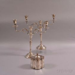 Pair of Silver-plated Convertible Three-light Candelabra and a Silver-plated Biscuit Box
