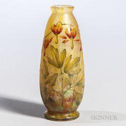 Daum Enameled Cameo Vase