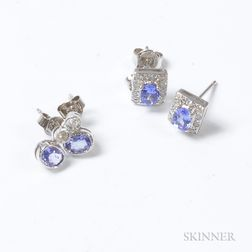 Two Pairs of 14kt White Gold, Tanzanite, and Diamond Earrings