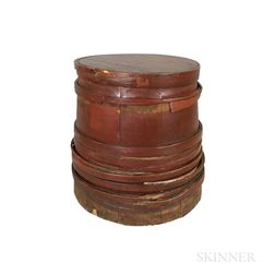 Large Red-painted Stave-constructed Bin
