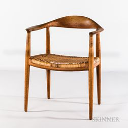 "Hans J. Wegner for Johannes Hansen Model 501 ""The Chair"" with Woven Grass Seat"